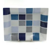 Vide-poches porcelaine fine rectangulaire décor Arlequin tons bleus