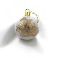 Boule de Noël ronde en porcelaine  fibre de verre et or