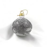 Boule de Noël ronde en porcelaine  fibre de verre et platine
