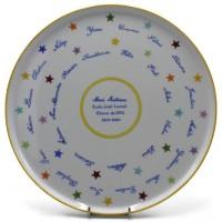 Plat à tartes rond porcelaine fine décor personnalisé Merci Maîtresse