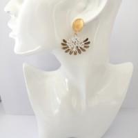 Boucles d'oreilles arbre de vie or et blanc