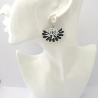 Boucles d'oreilles arbre de vie blanc et noir