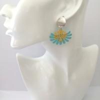 Boucles d'oreilles arbre de vie turquoise et jaune