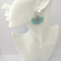 Boucles d'oreilles arbre de vie turquoise et argent
