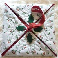 Sac à tarte idée cadeau Noël 46 x 46 cm en tissu coton rouge gorge, houx feutre et perles en verre