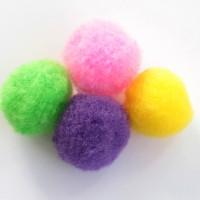 Lot de 10 pompons ronds de 25mm  environ de différente couleurs