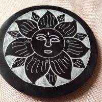 Porte encens en pierre, rond, soleil