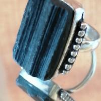 Bague cabochon tourmaline noire métal argenté vieilli