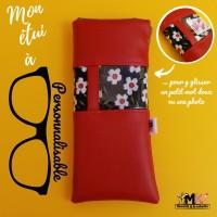 ETUI A LUNETTES Original Chic / Pochette molletonnée souple  PERSONNALISABLE  homme / femme - cuir synthétique - Rouge - Motifs au choix- Fait main