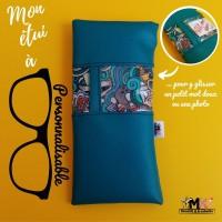 ETUI A LUNETTES Original Chic / Pochette molletonnée souple PERSONNALISABLE homme  - cuir synthétique - Bleu - Motifs au choix- Fait main