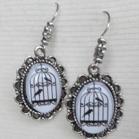 Boucles d'oreilles cabochon cage à oiseaux