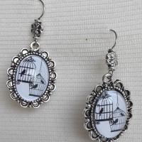 Boucles d'oreilles vintage cage oiseaux