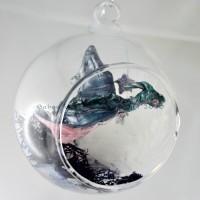 Boule Dragon en vol , boule en verre fantastique