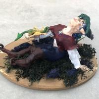 Trolette et son dragon , figurine pâte polymère