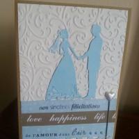 Carte Félicitations de mariage turquoise et blanche.
