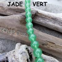 Perles de Jade vert translucide (pierre fine) de 6 ou 8 mm Grade AAA, trou 1 mm - (x 5 ou 10)