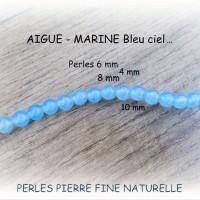 Perles d'AIGUE-MARINE bleu ciel, pierre fine, de 4 mm, 6 mm et 6 mm à facettes ou 8 et 10 mm AAA - trou 1 mm - (x2, x5 ou x10)