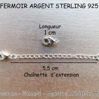 Fermoir Argent Sterling Massif 925 - mousqueton - homard - menotte - de 10 mm x 6 mm - poinçonné - option extension 55 mm (x 1)
