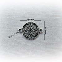 Connecteur, Intercalaire Trèfle à 4 feuilles de 18 x 13 mm - Argent vieilli (x1)