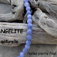 Perles d'ANGELITE bleu - pierre fine - 6, 8 et 10mm Grade A+, trou 1 mm (x 2, 5 ou 10)
