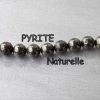 Perles de PYRITE, pierre fine naturelle - 4, 6 et 8 mm grade AAA - trou 1 mm (x 5 ou 10)