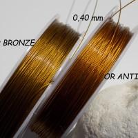 Fil câblé gaîné couleur Or foncé Antique ou Or bronze, diamètres 0,40 et 0,45 mm / au mètre