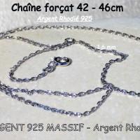 Chaîne Argent Massif 925 Rhodié maillon forçat 1,35 mm ou 1,6 mm diamantée - poinçonnée - réglable de 40 cm (16 inch) à 45 cm (18 inch)
