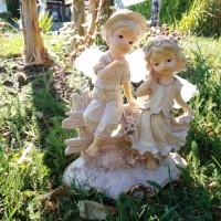 FIGURINE RESINE ANGES FILLE ET GARCON POUR DECO DE TABLE BAPTEME OU CADEAU MARRAINE