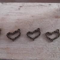 Lot de 5 Breloques coeurs Bronze
