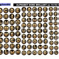 IMAGES DIGITALES ALPHABET DORE BRILLANT en 14-16-18 mm