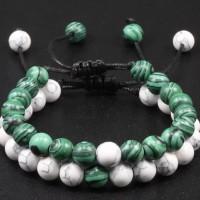 Bracelet duo amitié / couple / parent enfant vert& blanc