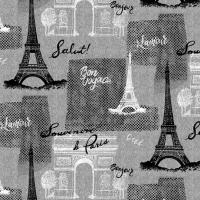 Tissu BONJOUR BON VOYAGE PARIS gris -  Timeless Treasures
