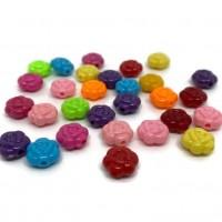 50 perles 8mm acryliques forme fleur mélange de couleur  ( PA8-13)