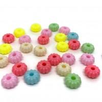 50 perles 8mm acryliques forme fleur mélange de couleur  ( PA8-15)