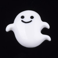 x4 cabochons fantôme blanc en résine 22mm