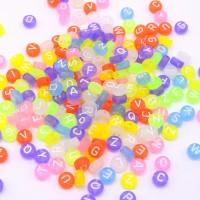 Perles alphabet rondes plates couleur mixte givré - Lot de 100/500 unités