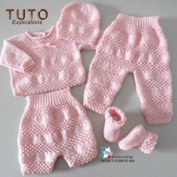TUTO tu-147 ? 1 mois - fiche tricot bébé, explications brassière bloomer pantalon bonnet et chaussons bb tricot fait main