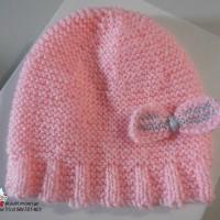 Bonnet 3 mois en rose rêverie ? tricot bébé fait main laine Barisienne modèle layette bb