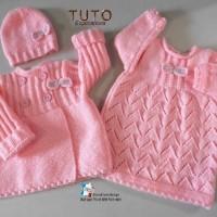 TUTO tu-146 ? 6 mois - fiche tricot bébé, explications en tricot bébé, robe manteau ou veste et bonnet bb layette tricot fait main