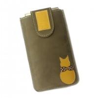 Housse cuir nubuck téléphone portable beige kaki  motif logo chat catsoo jaune moutarde