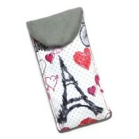 J'ADORE PARIS Housse téléphone portable Tour Eiffel coeurs gris fuchsia blanc suédine grise