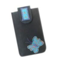 Housse cuir housse téléphone housse portable étui cuir étui téléphone étui portable, étui papillon, papillon cuir, bleu,turquoise, papillon brodé,  nubuck noir