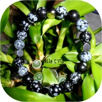 Bracelet Obsidienne Flocon de Neige et acier inoxydable
