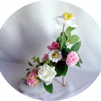 Escarpin strass gris avec fleurs en savon