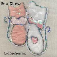 ÉCUSSON PATCH - DUO CHAT BLANC et NUDE, Sequin Argenté, aspect fourrure ** 19 x 21 cm ** Applique thermocollante