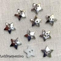 Lot de 10 boutons en plastique plat 2 trous - ÉTOILE / Argenté ** 12 mm ** Couture, layette, scrapbooking, carterie - B16