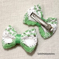 BARRETTE PINCE CLIP CHEVEUX - Noeud en dentelle coton, Blanc vert ** 5 x 3,5 cm ** Bébé, enfant - CH20