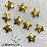 Lot de 10 boutons en plastique plat 2 trous - ÉTOILE / Doré ** 12 mm ** Couture, layette, scrapbooking, carterie - B16