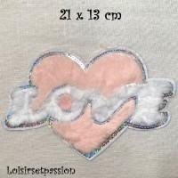ÉCUSSON PATCH - COEUR LOVE BLANC et NUDE, Sequin Argenté, aspect fourrure ** 21 x 13 cm ** Applique thermocollante