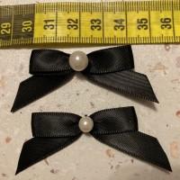 LOT de 30 NOEUDS SATIN 40 mm /  couleur noir + bouton perle de 8 mm